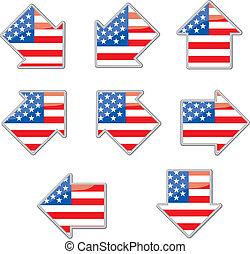 USA flag arrow placards