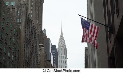 USA flag at building in a New York city