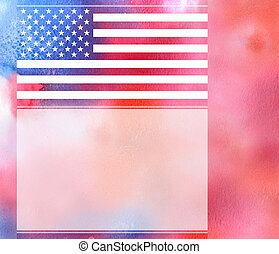 USA flag background with grained rough texture watercolor...