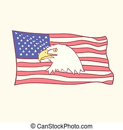 USA flag Bald american eagle mascot vector icon hand drawn style doodle design illustrations