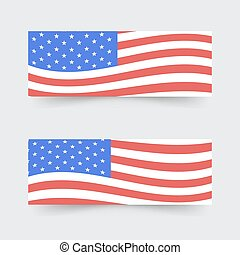 USA flag banners. Vector illustration .