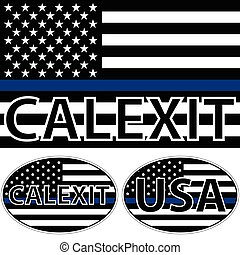 USA flag  blue stripe calexit
