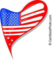 usa flag button heart shape. vector