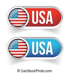USA flag button vector set