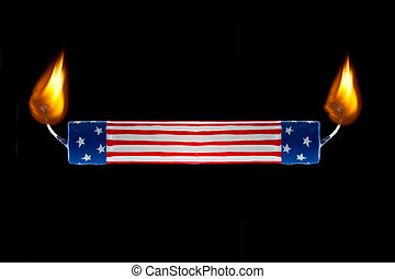 USA flag candle burning both ends
