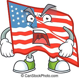 USA flag cartoon character design with angry face