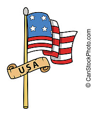 USA Flag Cartoon - Vector