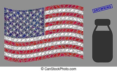 USA Flag Collage of Bottle and Grunge Drowning Seal
