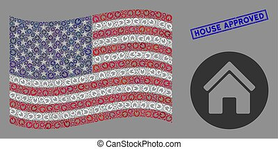 USA Flag Collage of Real Estate and Scratched House Approved Stamp