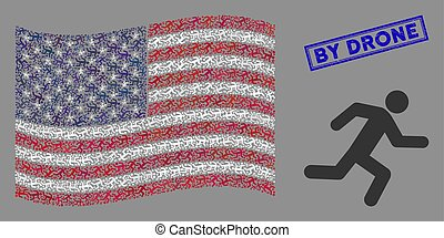 USA Flag Collage of Running Man and Scratched By Drone Stamp
