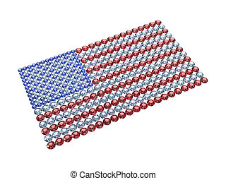 USA flag composed of different color brilliants