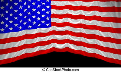 USA Flag curtain up. Alpha channel is included. You can rewind the video and drop the curtain