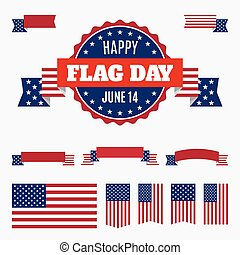 USA Flag day badge, banners and ribbons
