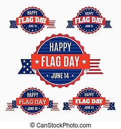 USA Flag day badges set