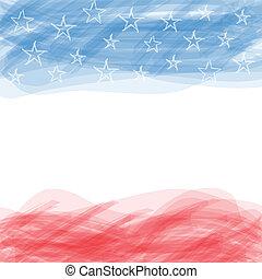 usa, flag., een, poster, met, een, groot, gekraste, frame.