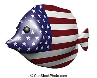 USA flag fish - 3D render