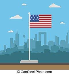 USA Flag flat style