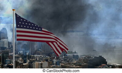 USA flag fly away and falling down against storm in New York