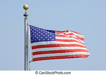 USA Flag Flying in the Wind