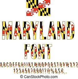 USA flag font - Maryland USA state flag font. Alphabet,...