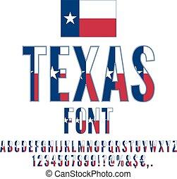 USA flag font - Texas USA state flag font. Alphabet, numbers...