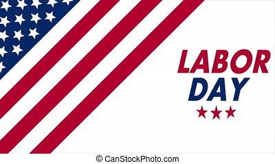 USA flag for labor day, art video illustration.