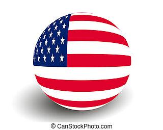 USA Flag Globe on white background.