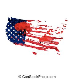 USA flag grunge in watercolor style.