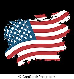 USA flag grunge style on black background. Brush strokes and ink splatter. National symbol of America