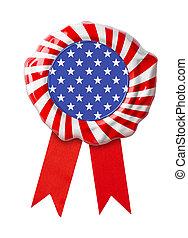 USA flag guarantee seal with ribbon