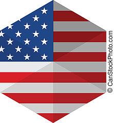 USA Flag Hexagon Flat Icon Button