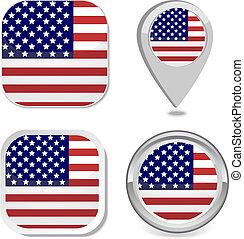USA Flag icon button sticker