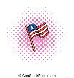 USA flag icon, comics style