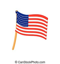 USA flag icon in cartoon style
