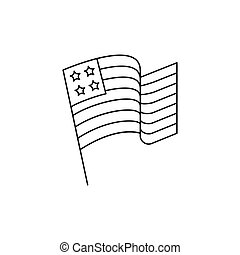 Usa flag icon, outline style