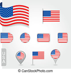 USA flag icon set
