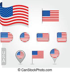 USA flag icon set