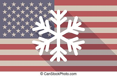 USA flag icon with a snow flake