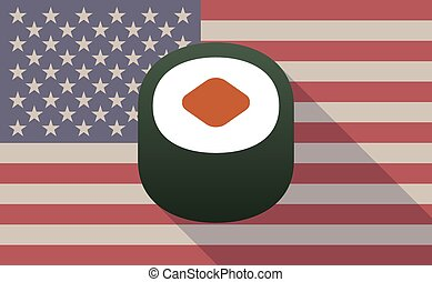 USA flag icon with a sushi