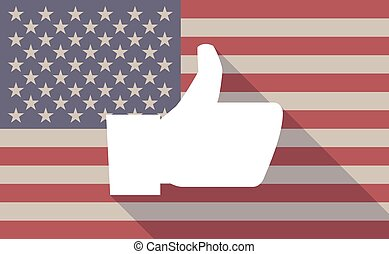 USA flag icon with a thumb hand