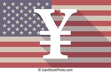USA flag icon with a yen sign