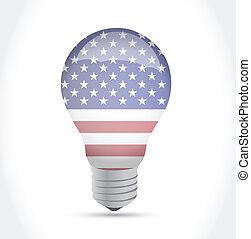 usa flag idea light bulb illustration design