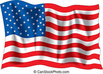 USA flag - USA wavy flag isolated on white background