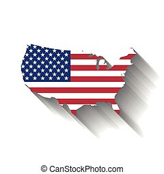USA flag in a shape of US map silhouette. United States of America symbol. Vector illustration with dropped long shadow on white background