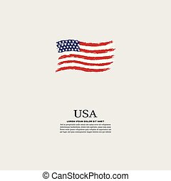 USA flag in grunge style on a gray background
