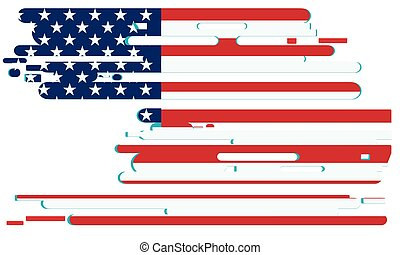 USA flag in grunge style. Vector illustration on a white isolated background.