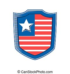 usa flag in shield detailed style icon vector design