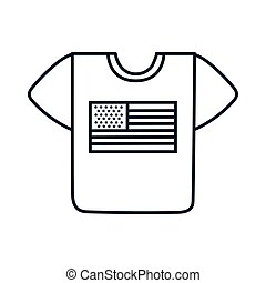 usa flag in shirt line style icon