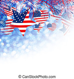 USA flag in star and heart shape with firework background design for 4 july independence day and other celebration