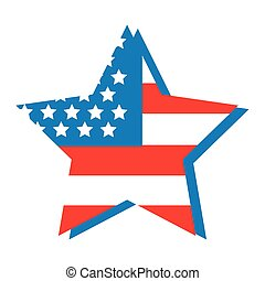 usa flag in star flat style icon